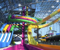 Rendering of waterslides at Epic Waters Indoor Waterpark