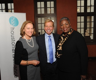 3 5520 Minnette Boesel, from left, Jonathon Glus and Dr. Rhea Brown Lawson at the Port of Houston library exhibition celebration September 2014