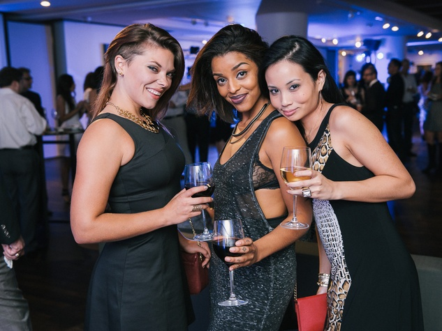 11 Kristin Montoya, from left, Visuewelle Pryor and Mindy Le at CultureMap fifth anniversary birthday party October 2014