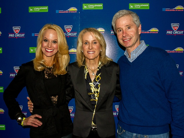 Katy Bock, Honorary Host Tracy Austin and Lawrence Bock, challenger of dallas sponsor and players party