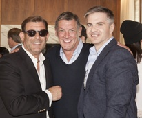 Fred Smith, from left, Neal Hamil and NAME at Neal Hamil's birthday party November 2014