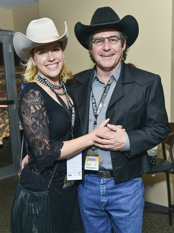 Cami Cavender and Mike Cavender at Houston rodeo Lucchese party March 2014