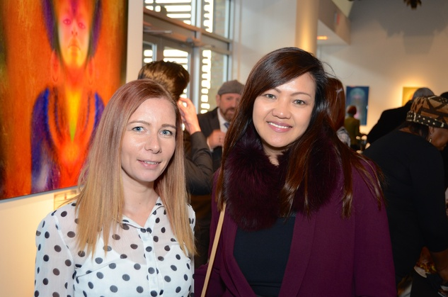"Lene Haavet, left, and Angie Harlein at the Valvisions Foundation ""Cinema, Canvas & Cuisine"" March 2015"