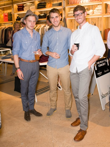 Alex Marcell, Luke Treacher, Nick Denman at Steven Alan store opening in Dallas