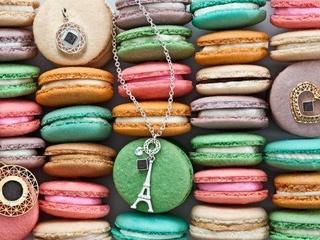 Korbella Eiffel Tower Jewelry necklaces on macarons