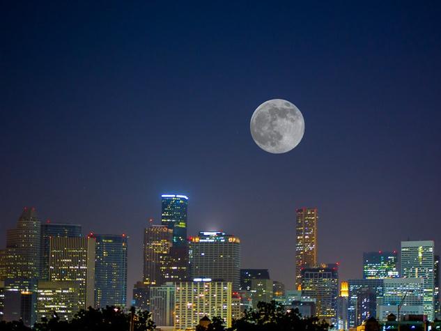 supermoon Houston skyline at night June 2013