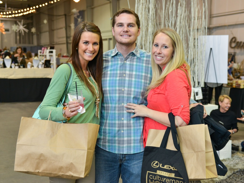 30 Danielle Johnston, left, with Brian and Shelly Carey at the CultureMap Pop-Up Shop December 2014
