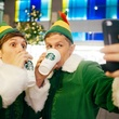 Elves with lattes taking selfies