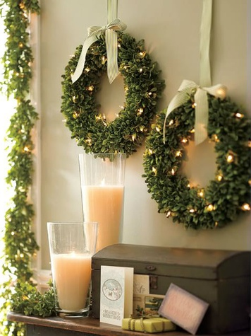 Boxwood wreaths from Pottery Barn