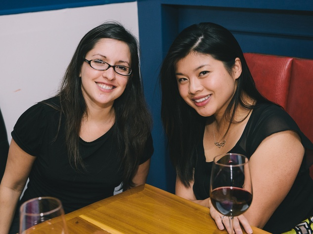 Kristine Horta, left, and Lulu Han at the Houston Symphony Young Professionals Backstage kick-off party
