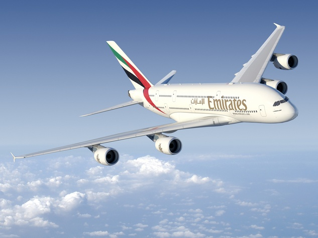 Emirates A380 in Houston December 2014 flying