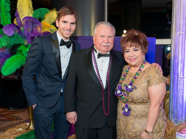 2 Mason Everist, from left, Charlie Thomas and Trini Mendenhall at the St. Thomas Mardi Gras Gala February 2015