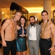 13 Neal Hamil models, from left, Tamar Mendelssohn and Fady Armanious at The Orange Show's A Couture Cause party