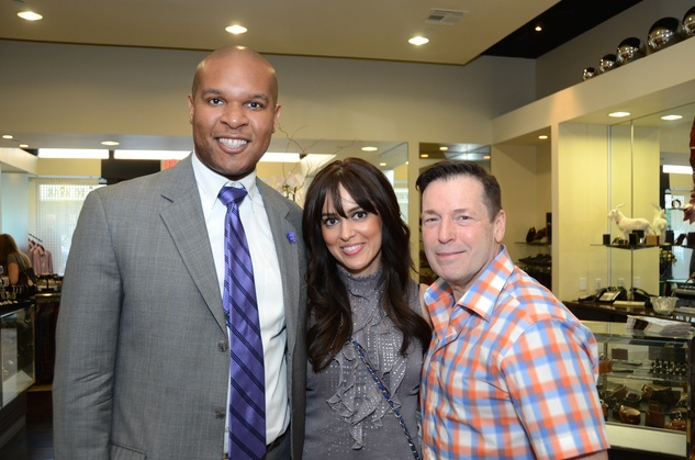 7 Travis Torrence, from left, Ana Paredes and Scott Evans at the Festari for Men Summer Soiree August 2014