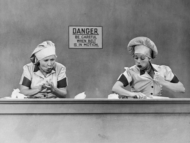 News_I Love Lucy_Ethel_Lucy_chocolate factory