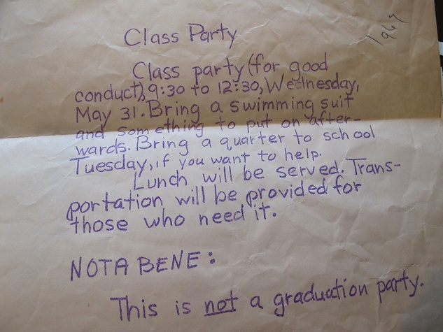 Katie Oxford sixth grade graduation letter
