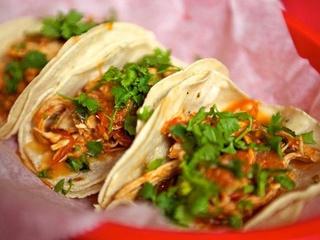 Tacos A Go-Go pollo guisado tacos with cilantro