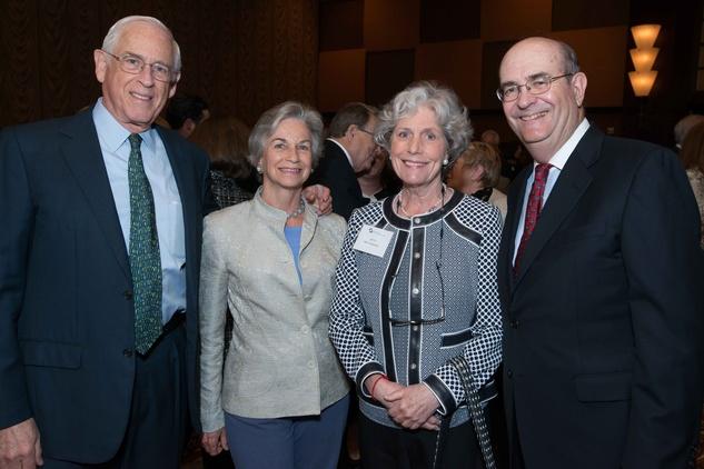 Dr. John Mendelsohn and Ann Mendelsohn, from left, Beth Robertson and Steve Miller at the Center for Houston's Future luncheon March 2015