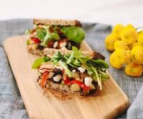 Modern Market restaurant eggplant goat cheese sandwich.