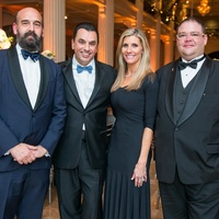 460 Bill Coates, from left, Dr. Devinder Bhatia and Gina Bhatia and Joseph Kemble at the Houston Symphony Wolfgang Puck wine dinner March 2015