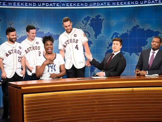 "José Altuve, Alex Bregman, George Springer,Leslie Jones, Colin Jost, Michael Che on Saturday Night Live ""Weekend Update"""