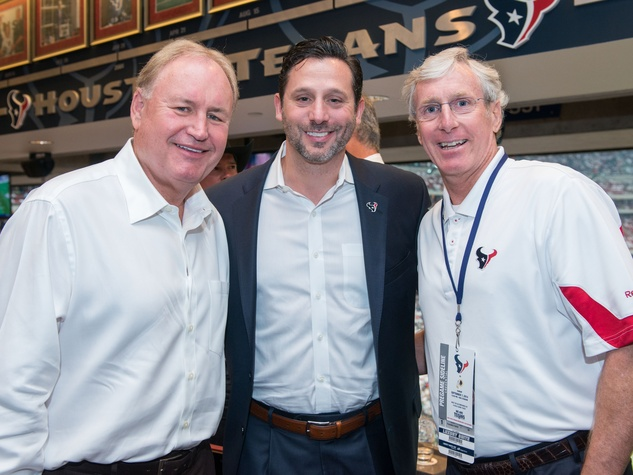 6 Gary Petersen, from left, Brad Marks and Clark Kemble at the Houston Texans Owner's Suite party at NRG Stadium September 2014