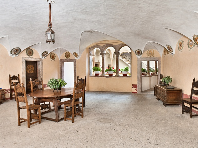 On the Market Castel Valer in northern Italy near Milan May 2014 open living or dining area
