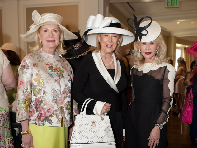 Kathi Rovere, from left, Mary Ann McKeithan and Diane Lokey Farb at Hats Off to Mothers March 2014