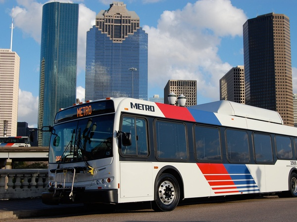 METRO, bus, downtown, skyline, Houston, November 2012