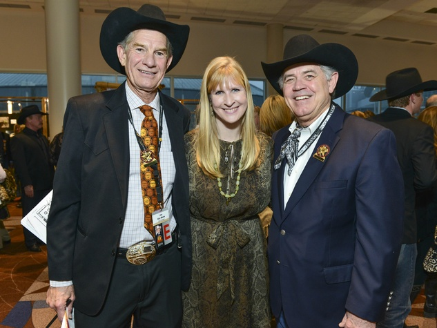 21 Joe and Jennifer Van Matre, from left, and Jack Lyons at the RodeoHouston Wine Auction Dinner March 2014