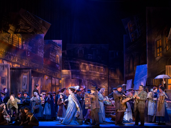 Houston Grand Opera, Puccini's La bohème, Christmas Eve, cast, stage, October 2012