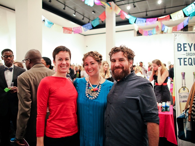 Emily Watts, from left, Nicole Romano and Gabriel Martinez at the Lawndale Gala and Retablo Silent Auction October 2013