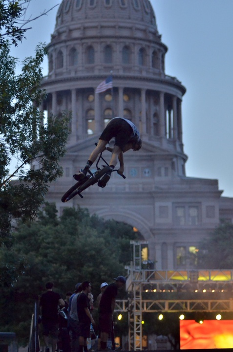 x games rally BMXers jump the ramp
