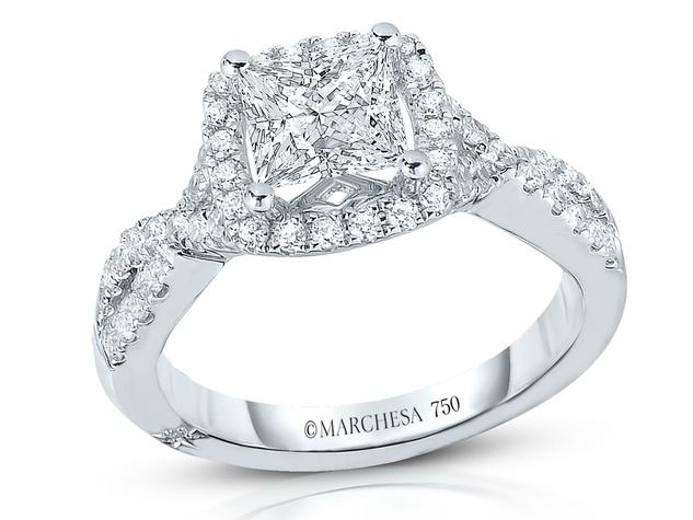 Marchesa Princess Halo twist shank wedding ring