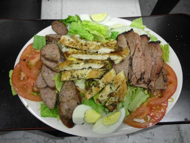 Ray's Real Pit BBQ Shack Chef salad with brisket, sausage, barbecue