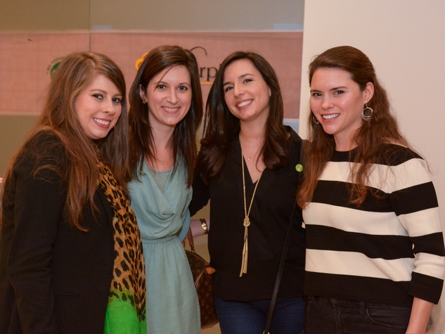 30 Sarah Foltz, from left, Katie Shipman, Daphne Laplante and Sara Cain at Preservation Houston's Pier & Beam #ThrowbackThursday Party November 2014
