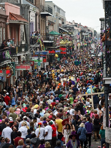 Mardi Gras, Bourbon Street, crowd, partying
