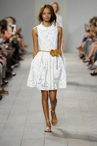 Michael Kors spring 2015 look 3 white fil coupe dress