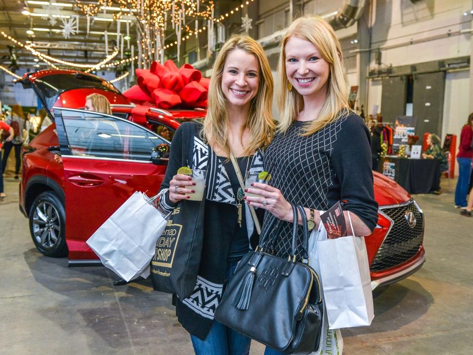 17 Hannah English, left, and Lauren Avots at the CultureMap Pop-Up Shop December 2014