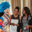 Puppet Pizzazz, from left, John Ella Fowler and Melissa Thompson at the Young Audiences of Houston Gala April 2014