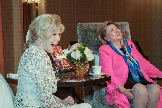 11 0569 Joanne King Herring, left, and Barbara Taylor Bradford at the Women's Home tea April 2015