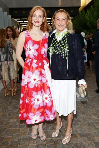 Jessica Chastain and Miuccia Prada at private dinner during Milan Men's Fashion Week