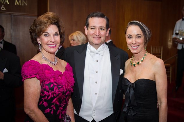 3137 Sherry Smith, from left, Ted Cruz and Sue Smith at the Houston Symphony Centennial Ball May 2014