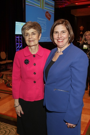 Ronnie Haggerty, left, and Kristi Cooper at the National Philanthropy Day Awards November 2014