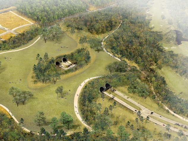 Rendering of proposed Land Bridge at Memorial Park (aerial view); Rendering courtesy of Nelson Byrd Woltz September 2014
