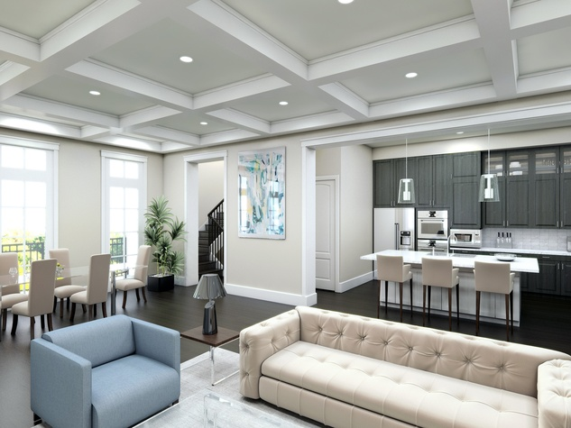 Boulevard promoted series Bell Heights The interior of this cottage shows the open living plan and the beautiful coffered ceilings that show the builder's master touch. February 2015