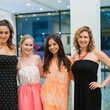 Sasha Ayad, from left, Andreana Binder, Ana Torres and Laura Isensee at the Art Crowd Soto at the MFAH June 2014