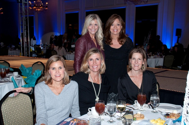 Carrie Harper, from left, Jenni Bredthauer, Cindy Stein, Vikki Osso and Mary Jo Wimberly at the Spring Branch Education Foundation luncheon November 2014