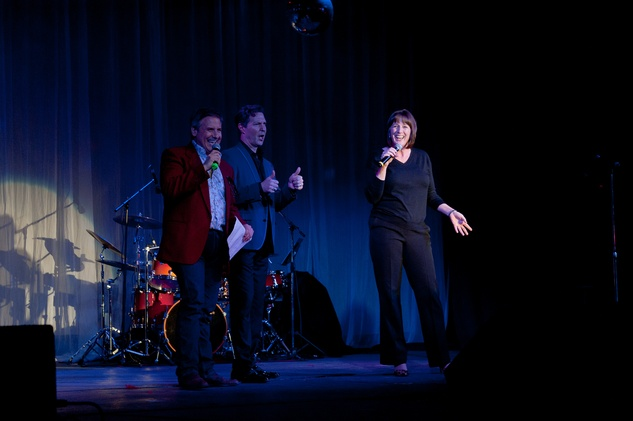 Ernie Manouse, Ron Bohmer and Kelly Young at Charity in Song with Book of Mormon cast members at Numbers