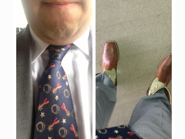Go Texan Day February 2014 tie and boots man